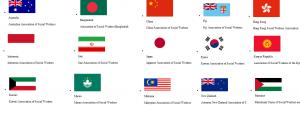 پرچم ایران در بین پرچم های اعضای آسیایی فدراسیون